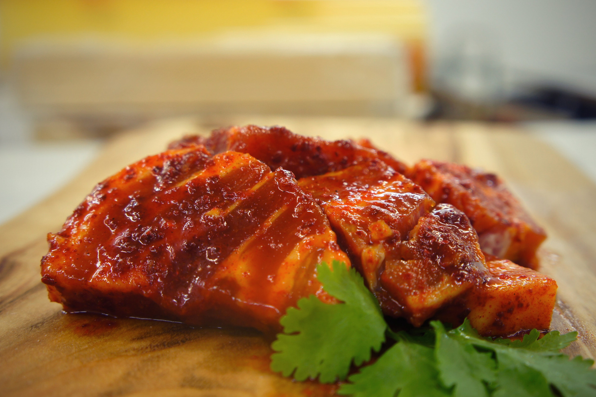 Side View of Chilli Pork Belly