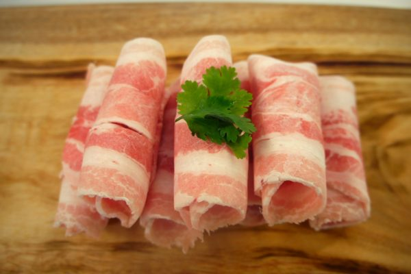 Top View of Pork Belly Shabu Shabu